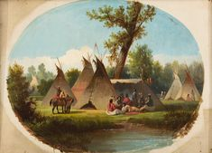 John Mix Stanley, Assiniboin Encampment on the Upper Missouri, between 1860 and oil on canvas. Detroit Institute of Arts. Detroit Art, Native American Indians, Art And Architecture, Painting Inspiration, American Art, Missouri, Art Museum, Oil On Canvas, Art Decor