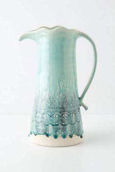 Anthropologie EU Point Duchesse Pitcher. Lace-embossed, blue-green hues drip down striking stoneware.