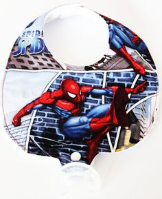 Spider Man Binky Bibs  Hero Bibs  Pacifier Bibs  by GVRDesigns