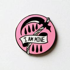 "Pink ""I Am Mine"" Hard Enamel Pin. Morrissey lyrics and reaper sickle design!"