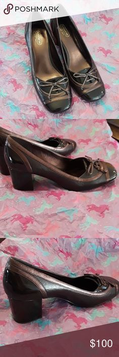 Beautiful Coach Leather/Patent Leath. Heels Authentic Vintage Coach Heels size 7b in near pristine condition very little wear on the inner stitching otherwise these beautiful heels shine like new. Made with leather and patent leather on the heels. Nearly a 2 inch heel. Super cute bows near the glossy flawless toes. Coach Shoes
