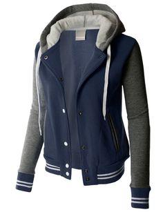 cool LE3NO PREMIUM Womens Contrast Sleeve Fleece Varsity Baseball Hoodie Jacket