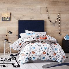 Adorable hand painted animals are the feature of this quilt cover set from Adairs Kids. Interspersed with fun geo shapes, this design is made from cotton and fully reversible with a more mature look on the underside for little ones to grow into.