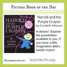 Picture Book of the Day: Harold and the Purple Crayon.  A toddler/preschool activity to go with the book. | Simple. Home. Blessings