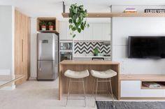 Kitchen Room Design, Home Room Design, Kitchen Sets, Home Decor Kitchen, Kitchen Living, Small Apartment Layout, Small Apartment Interior, Kitchen Layout Plans, Estilo Interior