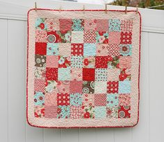charm pack baby quilt with bias binding tutorial