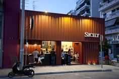 Sicily Cafe - Larissa - Greece: The first container-cafe in Greece.