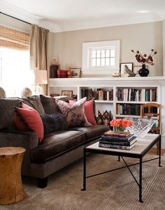Jennifer Worts Design - living rooms - brown velvet sofa, brown velvet couch, brown sofa, brown couch, chocolate brown sofa, chocolate brown couch, living room built ins, living room built in cabinets, sofa in front of window,