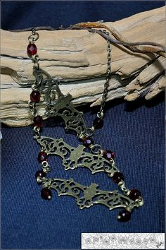 LOVE this beautiful necklace - filigree bats chain charm pendant czech glass by SpinnWeben, €20.00
