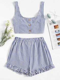 Shop Single Breasted Striped Top With Shorts online. SHEIN offers Single Breasted Striped Top With Shorts & more to fit your fashionable needs. Crop Top And Shorts, Sweater And Shorts, Crop Tops, Cute Casual Outfits, Summer Outfits, Cute Dresses, Short Dresses, Short Suit, Sleeveless Crop Top