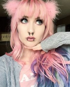 Pastel pink with bang & purple ends hairstyle by riahboflavin