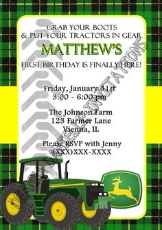 Pink john deere party on pinterest john deere party for Where can i buy party invitations