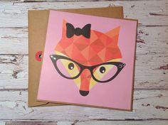 Fox card, fox greeting card, Handmade fox card, card with fox, any occasion card, handmade blank card, by PinkyPromiseBargains on Etsy