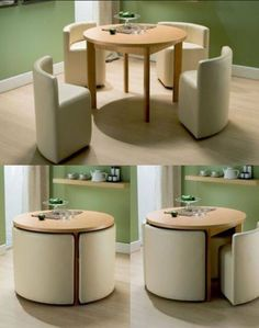 space saving table and chairs.I wonder if you could build these with frame, foam and cover. I would love to do it to match décor or to do a mini set for in a kids playroom house design with kids Round Dining Table & Chairs for Small Homes Smart Furniture, Home Decor Furniture, Diy Home Decor, Furniture Design, Room Decor, Modern Furniture, Furniture Ideas, Folding Furniture, Rustic Furniture