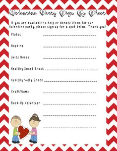 A sample class party sign-up sheet that I made.
