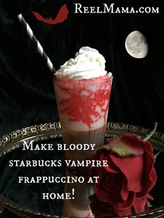 """Check out this fun and yummy recipe for homemade """"bloody"""" Starbucks vampire Frappuccino, the Frappula for Halloween!"""