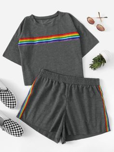 Shop Plus Drop Shoulder Striped Tape Tee With Shorts online. SheIn offers Plus Drop Shoulder Striped Tape Tee With Shorts & more to fit your fashionable needs. Kids Outfits Girls, Sporty Outfits, Cute Outfits For Kids, Teenager Outfits, Teen Fashion Outfits, Cute Casual Outfits, Stylish Outfits, Summer Outfits, Cute Pajama Sets