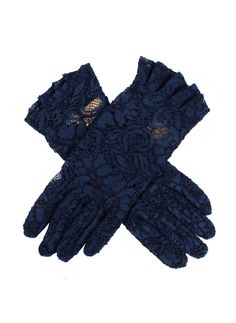 Navy women's delicate lace gloves with ruffled cuffs for added detail. Composition: Nylon Lining: Unlined Button Length: 4 B/L – These gloves extend approximately 3 inches above the wrist. Lace Gloves, Summer Events, Occasion Wear, Navy Women, Leather Fabric, Feminine, Clothes, Composition, Cuffs