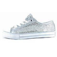 Gotta Flurt Adult Disco Silver Sequin Sneakers- GY0041