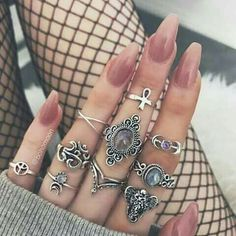 The online destination for bohemian jewellery Nail Jewelry, Cute Jewelry, Jewlery, Cute Nails, Pretty Nails, Fake Tattoo, Nail Ring, Bohemian Jewellery, Accesorios Casual