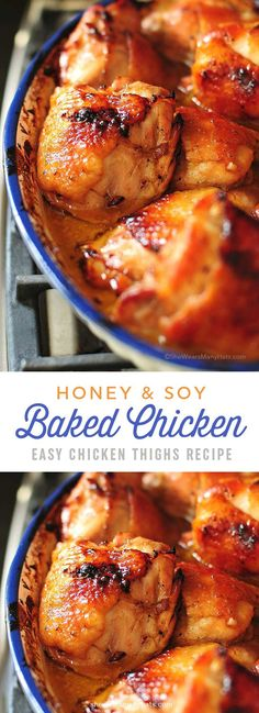 Honey Soy Baked Chicken Thighs Recipe | shewearsmanyhats.com