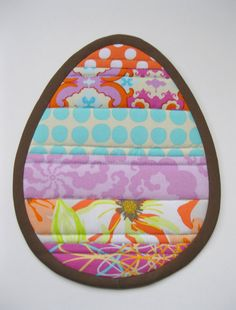 Stripey Egg Potholder and Mug Rug Tutorial and Sewing Pattern in PDF Format. on Etsy, $6.00