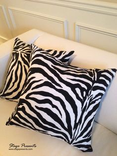 Black and White Zebra Print Decorative Throw Pillows - 15X15 - Home Decor - Couch Pillows - Animal Pillow