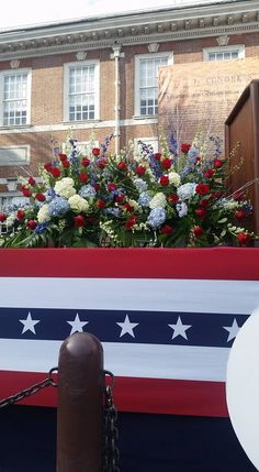 Gorgeous Red, White, and Blue Flower Arrangement on stage at Independence Hall for 4th of July by Ten Pennies Florist  #beautiful #flower #arrangement #4thofjuly #red #white #blue