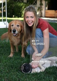 Actress Denise Richards poses for a portrait with her pet dogs Golden...