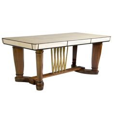 Italian Goat Skin Table With Walnut And Gilt Accents | From a unique collection of antique and modern center tables at http://www.1stdibs.com/furniture/tables/center-tables/