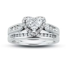 3/4 CT. T.W. Diamond Heart Bridal Set in 14K White Gold