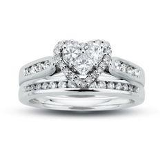 3/4 CT. T.W. Diamond Heart Bridal Set in 14K White Gold