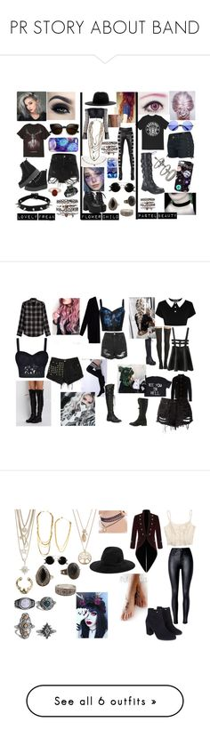 """""""PR STORY ABOUT BAND"""" by that-goth-girl ❤ liked on Polyvore featuring Hot Topic, ZeroUV, River Island, Too Faced Cosmetics, Miss Selfridge, Nikki Strange, Allurez, INDIE HAIR, MANGO and Yves Saint Laurent"""