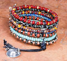 FREE SHIPPING CUFF/Bracelet Czech Picasso Beads Western Cowgirl Charms Dangles Desert 7 Strands Wrap Bracelet - Boho Chic- srajd Teal Eve's