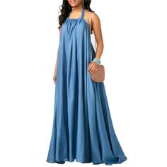 Feraco Womens Sexy Backless Sleeveless Halter Maxi Dress Blue Long Loose Evening Party Dresses XLarge ** Check this awesome product by going to the link at the image. (This is an affiliate link) Short Beach Dresses, Sexy Dresses, Casual Dresses, Party Dresses, Dress Party, Denim Maxi Dress, Maxi Dress With Sleeves, Pleated Skirt, African Fashion Dresses