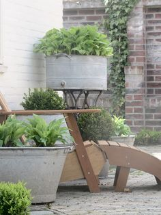 Galvanized tubs in the garden