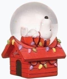 Roman Club Pack of 16 Peanuts Christmas Snoopy Snow Globe Glitterdomes