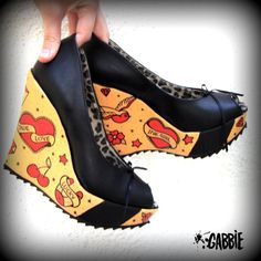 Red Ink Vegan Wedges Shoes - Old School, Girls with Tattoos, Ink, Tattoo Style - Custom Painted - One of a kind!