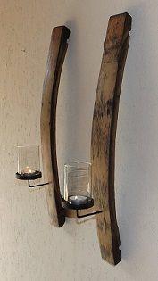 #Kerzenhalter #Kerze #Deko #DIY Schöner rustikaler Kerzenhalter Wine Crate Table, Wine Barrel Table, Crate And Barrel, Whiskey Barrel Bar, Whiskey Barrel Furniture, Wine Barrel Crafts, Barris, Barrel Projects, Wood Lamps