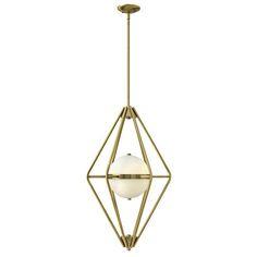 3x $449. Spectra Retro Brass Two Light Foyer Pendant With Etched Opal Glass Fredrick Ramond Lantern