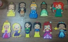 """This is a made-to-order item.     Each item is handmade by me using Perler, Hama, and Nabbi beads.    Each Disney Princess is approximately 3.5"""" x 5.5"""".    Princesses Included: Belle (Beauty & the Beast), Pocahantas, Cinderella, Tiana (Princess & the Frog), Merida (Brave), Aurora (Sleeping Beauty..."""