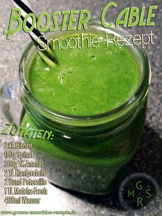 Grüner Smoothie mit Matcha-Fresh, Hanfprotein, Petersilie, Spinat, Ananas und Birne