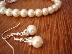 Simple & Elegant Pearl Earrings and Bracelet Set  by RBJohnson, $24.50