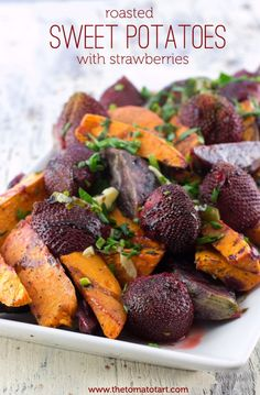 Spicy Roasted Sweet Potato & Strawberries