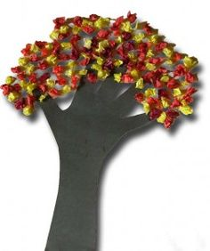 Hand and Tissue Paper Tree. Cute Autumn craft (or Spring!) that takes up some time. @Kayla Barkett Barkett Barkett Courtney @Heather Creswell Creswell Creswell Adams