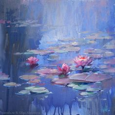 Landscape Paintings at Water Lilies Painting, Lily Painting, Painting Art, Oil Pastel Colours, Pastel Art, Oil Pastels, Landscape Paintings, Watercolor Paintings, Monet Paintings