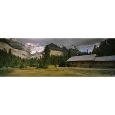 Log Cabins On A Mountainside Yoho National Park British Columbia Canada Canvas Art - Panoramic Images (36 x 12)