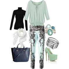 """Black Aqua Outfit"" by ndayindablue on Polyvore"
