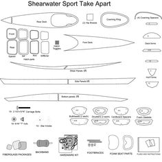 Sectional Shearwater Sport Kayak Kit Materials Wooden Boat Building, Boat Building Plans, Boat Plans, Canoe Plans, Make A Boat, Build Your Own Boat, Wooden Kayak, Wooden Boats, Kayak Boats