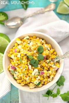 Skinny Mexican Street Corn ~ So deliciously simple! ~ from The Cookie Rookie via Real Housemoms